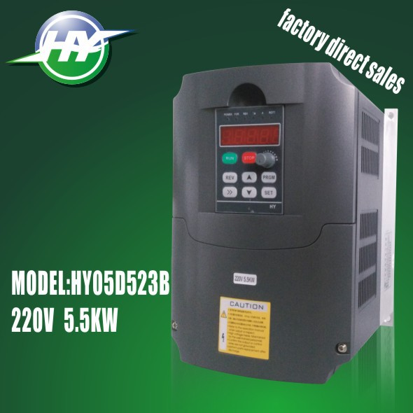 HUANYANG spindle inverters VFD Inverters AC Drive 5.5KW 220V 20A Variable Frequency Drive frequency converter Factory outlets(China (Mainland))