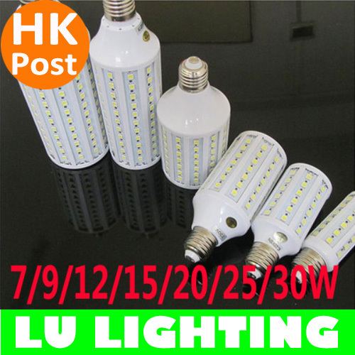 Hot Sale AC85-265V 7W 9W 10W 12W 15W 20W 25W 30W E27 SMD5050 LED Bulb Corn Light Lamp Free Shipping(China (Mainland))