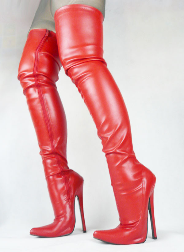 Dropshipping,over the knee+high heel+matte red color+sexy party boots,performance dancing boots,size range 36-45(China (Mainland))