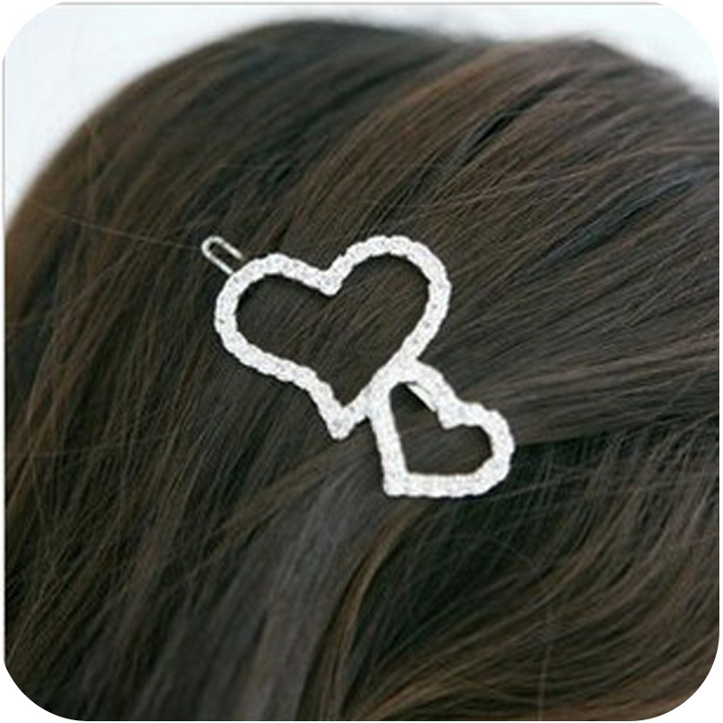 full imitation diamond double peach heart love hair clips hairpins 5g(China (Mainland))