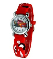 Free Shipping! Red Lovely 3D Cartoon Car Watch Children Kids Girls Boys Students Quartz Wristwatches