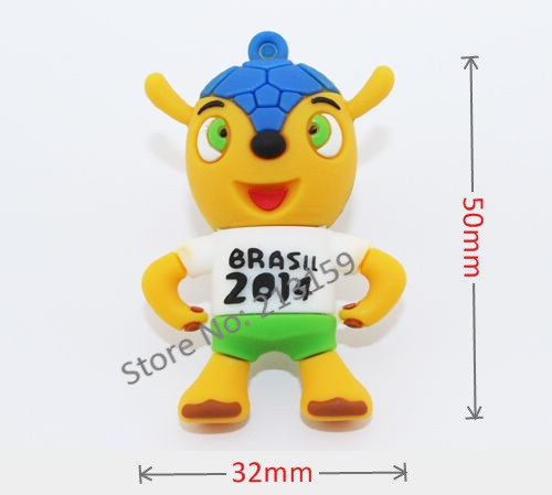Retail 2014 Brazil World Cup Mascot USB Flash Drives 2GB 4GB 8GB 16GB 32GB + Free shipping(China (Mainland))