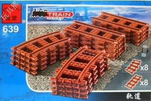 Free shipping enlighten 639 16pcs 3D DIY train series track plastic building block sets children eductional toys christmas gift(China (Mainland))