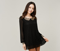 Explosion models women fat lady2013  new autumn long-sleeved sequined lace skirt dress skirt