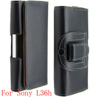 Black Magnetic PU Leather Belt Clip Holster Skin Case Cover Protector Guard for Sony Xperia Z Yuga L36h L36i C6603 ,DHL +50pcs