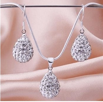 Wholesale 10set/lot LRJ women's Drop Necklace Earring set 925 Sterling Silver Jewelry Set Crystal Shamballa(China (Mainland))