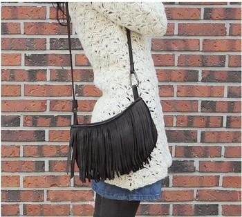 On sale Women's Double Layer Tassel Messenger Shoulder Bag BG22