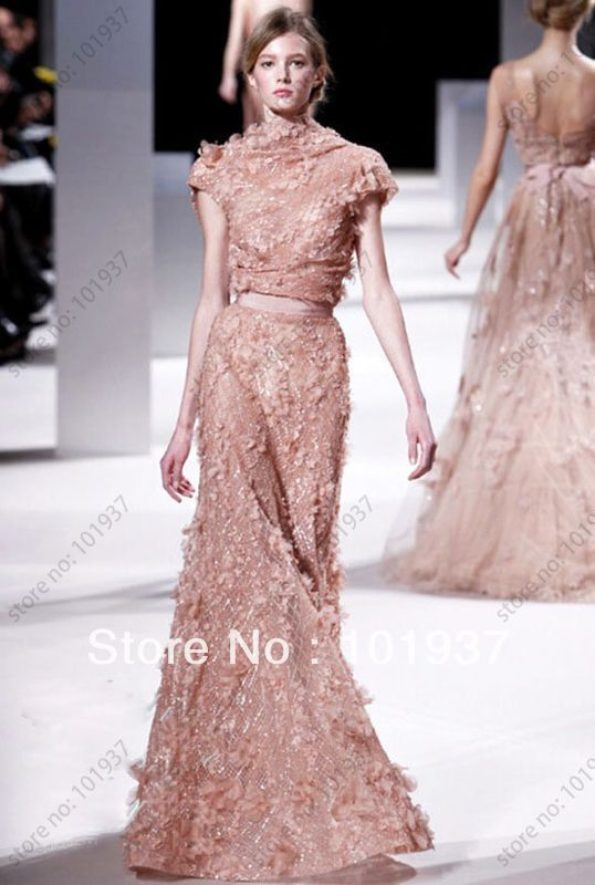 Elie Saab 2012 Gorgeous Hight Collar Sash Apliques Sequin Modest Dresses For Women Evening Dresses With Short Sleeves(China (Mainland))