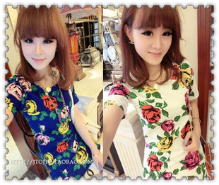 Free shipping 2013 fashion Cool 2013 summer big flower print straight brief all-match short-sleeve dress(China (Mainland))