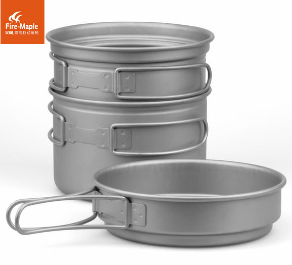 Outdoor horizon 2 camping titanium pot 2 - 3 cookware set flat tank burner(China (Mainland))