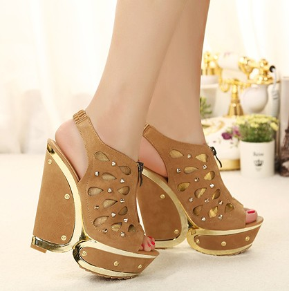 New arrival 2013 open toe wedges thick heel high heels rivet gauze platform open toe shoe female sandals(China (Mainland))