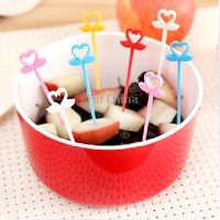12 x Reusable Swan Shape Three-color Plastic Fruit Fork(China (Mainland))