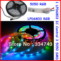 DC12V 5M 8W  IP67 Tube waterproof 5050 RGB 6803 IC Led Strip;One 6803 control 3 smd;30LEDS/M Free Shipping