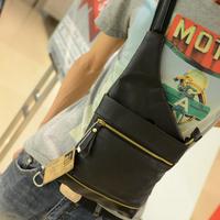 2013 women's male shoulder bag handbag unisex chest pack casual mobile phone bag fashion all-match lather-bag messenger bag