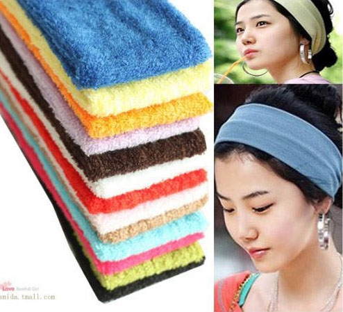 Headband sports yoga towel cloth sweat absorbing bandanas hair band wide hair band wigs hair accessory packaging(China (Mainland))