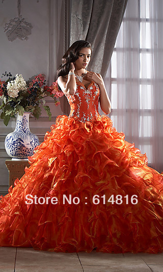 2013 New Fashion Orange Quinceanera Dress HOW_QC_26647 Wedding DressesEvening/Prom/Homecoming Quinceanera(China (Mainland))