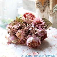 1 PCS Beautiful Artificial Peony Bouquet Silk Flowers Home Decoration F173