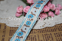 Free Shipping 1.9cm  Woven Jacquard Cotton Embroidered Ribbon 10 yards B204 blue flower
