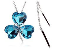 free shipping big crystal shamrock shape pendant sweater chain long necklace min order 8$
