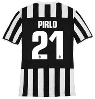 13-14 Juventus Home #21 PIRLO Jerseys WHITE BLACK Football Kit 2013-2014 Cheap Soccer Uniform free shipping