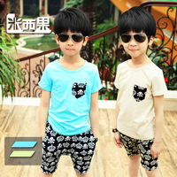 Children's clothing child summer male child 2013 short-sleeve sports set summer child clothes tz149