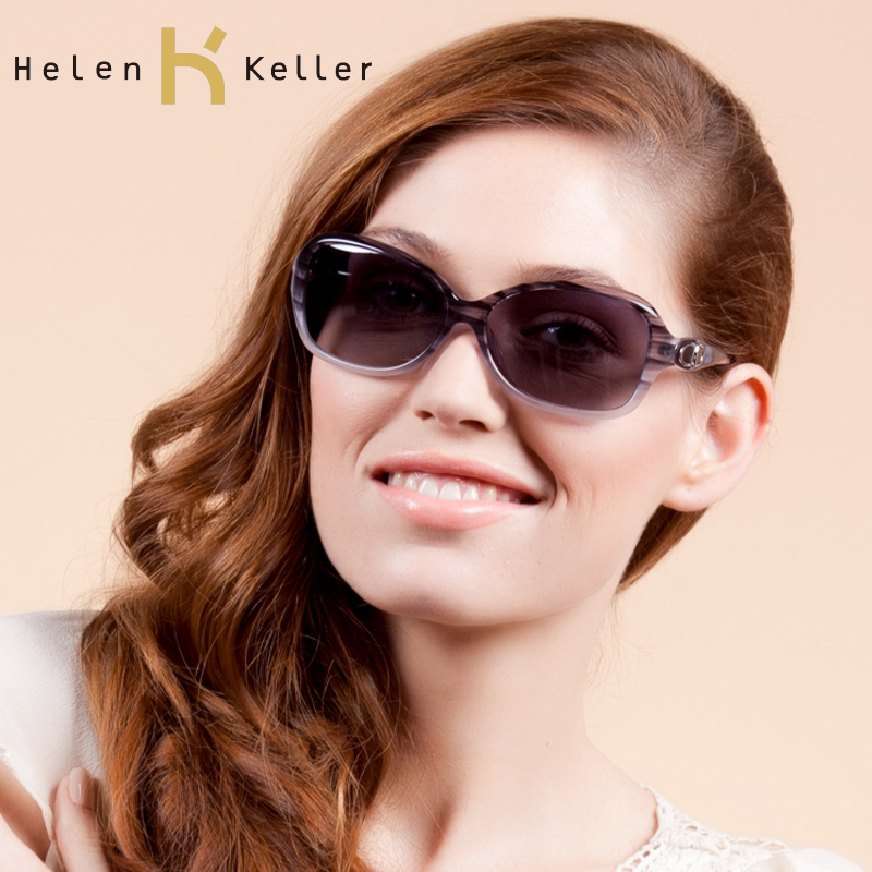 Helen keller elegant female dark stripe polarized sunglasses fashion sunglasses h1208(China (Mainland))