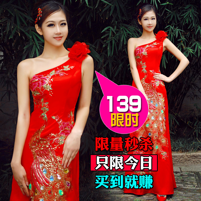 One shoulder evening dress red married the bride wedding dress formal dress cheongsam plus size long design bridal wear costume(China (Mainland))