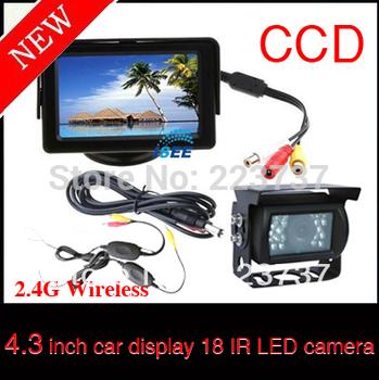 "4.3 ""LCD Monitor 2.4G Wireless Kit + 18 LED IR Wireless Car Reverse Reversing Camera DHL Free Shipping"