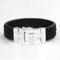 Wholesale, retail, fashion, new hard leather bracelet black men and women - titanium steel bracelet / / Free Shipping