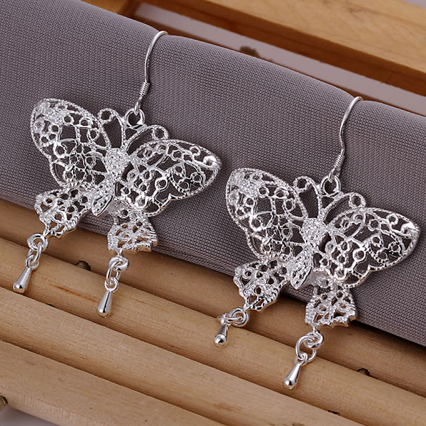 E108 Wholesale 925 silver earrings, 925 silver fashion jewelry earring Hollow Butterfly Earrings(China (Mainland))