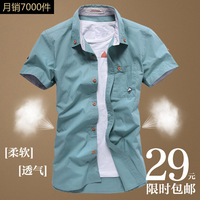 The 2013 summer men's men's Korean embroidery self-cultivation shirt leisure half sleeve shirt tide