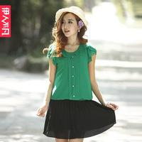 Isn't 2013 chiffon shirt slim chiffon short-sleeve ruffle collar chiffon shirt female