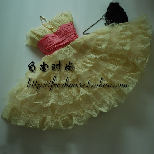 Free house yellow princess dress short design puff skirt banquet formal dress(China (Mainland))