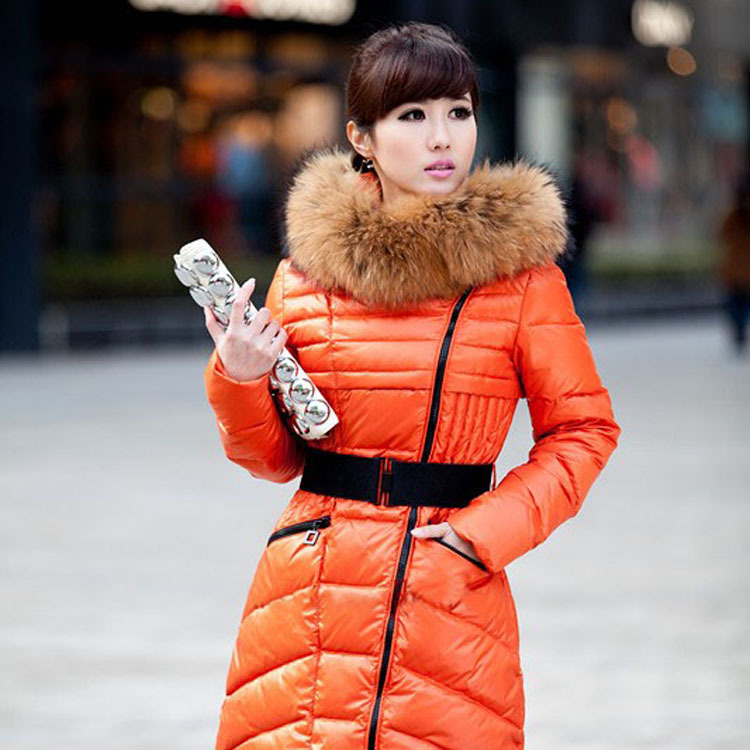 2013 new fashion women down jacket Female medium-long large fur collar slim down coat fashion(China (Mainland))