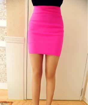 2013 summer candy color neon color elastic bust skirt bag skirt half-length skirt package hip slim skirt 0105  free shipping