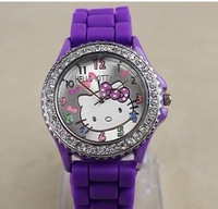 free shipping Diamond crystal Hello kitty Silicone Band Quartz Wrist Watch,10PCS/LOT 002
