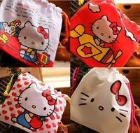Free shipping good cotton material  10pcs/lot Hello kitty plastic gift bag/ Grocery bag storage bag  20*20CM