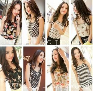 2014 Fashion Summer Women's Clothes Chiffon Sleeveless Causal Chiffon blouse Sundress S-XXXL ,Free Shipping Dropshipping(China (Mainland))