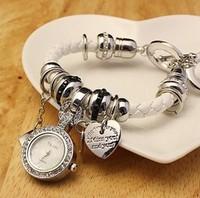 6 colors Fashion Leather Bracelet Heart Multi Pendant Women Dress Watch Quartz Watch 1piece/lot BW-SB-41