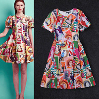 New Arrival Spring Women Puff Sleeve Colorful Stamp Printed Vintage Dress Pleated A-line Dresses  ch168