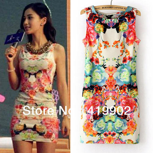 2013 New Fashion Women Ladies Floral Printed Sleeveless Clubwear Party Cocktail Vintage Sexy Mini Bodycon Dress(China (Mainland))