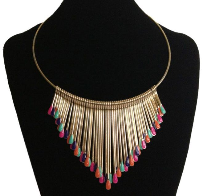 N1007 fashion classic colored matchsticks fashion women tassel collar necklace 6PCS/LOT free shipping(China (Mainland))