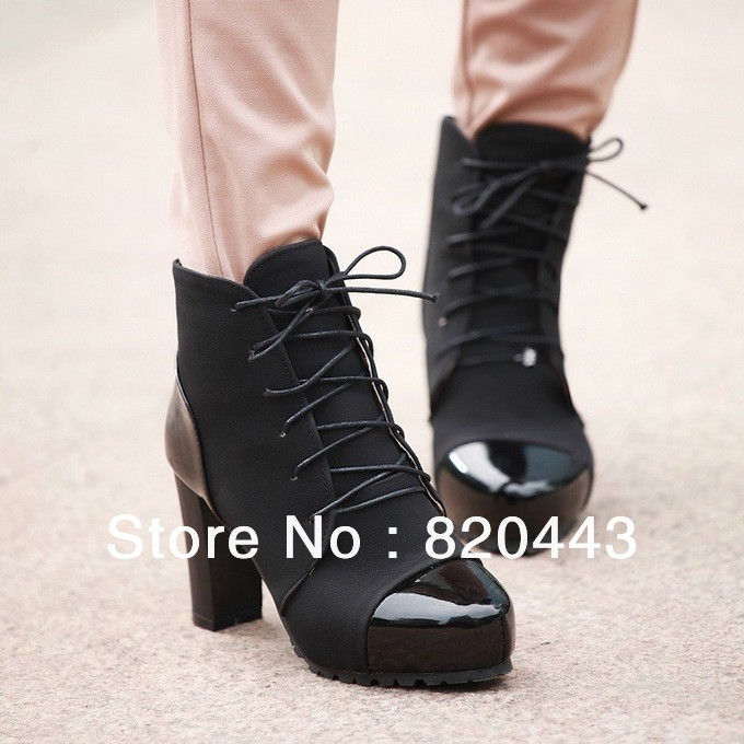 Free shipping 2013 new temperament thick with high-heeled boots women boots Martin 8CM(China (Mainland))