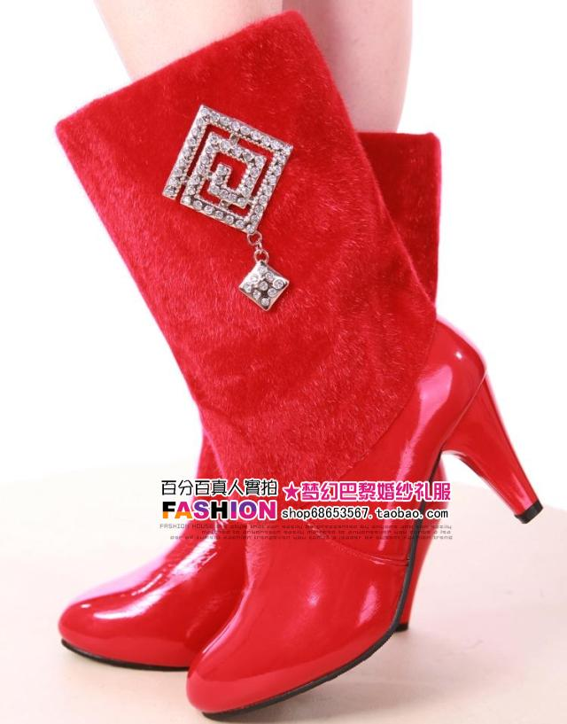 Red high-heeled boots thickening wedding shoes red boots bride winter boots wedding shoes(China (Mainland))