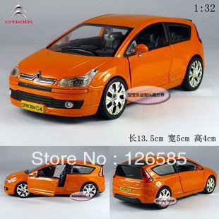 Free shippingNew Citroen C4 1:32 Alloy Diecast Model Car With Sound and Light Orange B194d(China (Mainland))