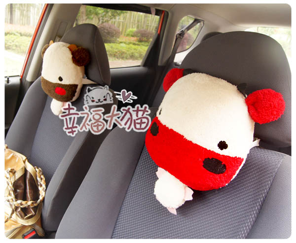 2013 Hot Sell Cute Cartoon Cow Cattle Travel Head Pillow Car Headrest Car Neck Pillow Free Shipping 2pcs/Lot F13093(China (Mainland))
