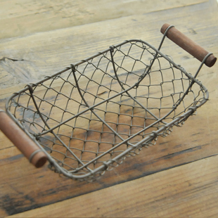 Japanese style interaural rectangle basket iron wire retro finishing storage basket storage box zakka(China (Mainland))