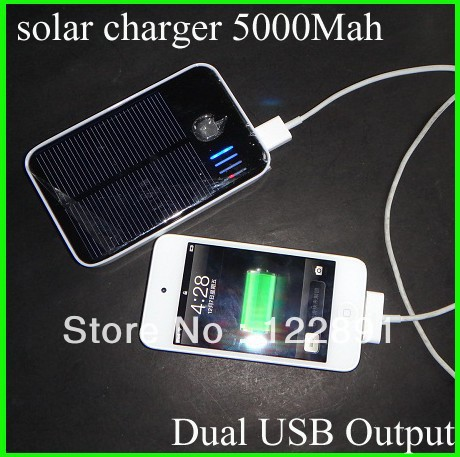 Hot! 5000Mah Portable Solar Charger+External Battery+ Mobile Power Bank For iphone+Dual USB Output+Battery Backup Free Shipping(China (Mainland))
