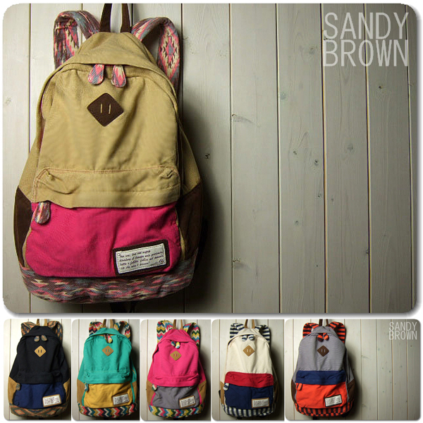 Vintage color block stripe suspenders canvas backpack bag school bag zakka(China (Mainland))