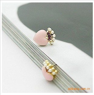 Es020 accessories full rhinestone oil love small peach heart stud earring earrings(China (Mainland))